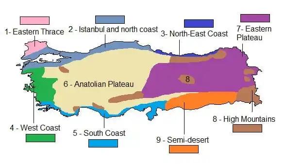 نقشی نواحی مختلف آبوهوای ترکیه
